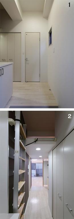 1:廊下の突きあたりの部屋、2:玄関から見た広いLD
