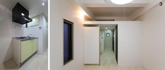4:キッチン、3:LDから見た玄関
